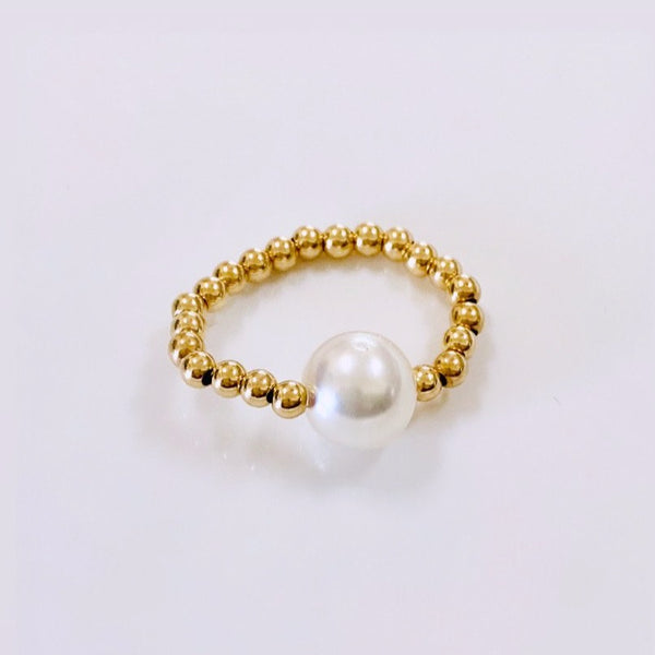 White SOUTH SEA pearl stretch ring