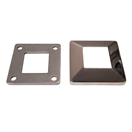 38mm Square - Base Plate W/Cover - Stainless Steel Products