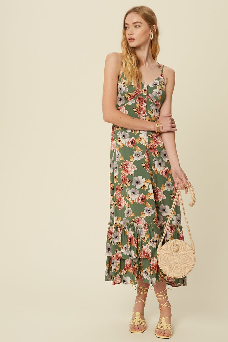Adalyn Button Front Floral Maxi Dress