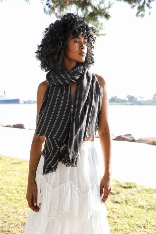 Viv Pencil Stripe Double Weave Scarf