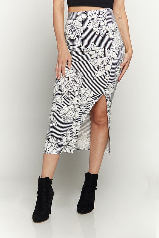 Kali Floral Mid-Calf Skirt With Front Slit