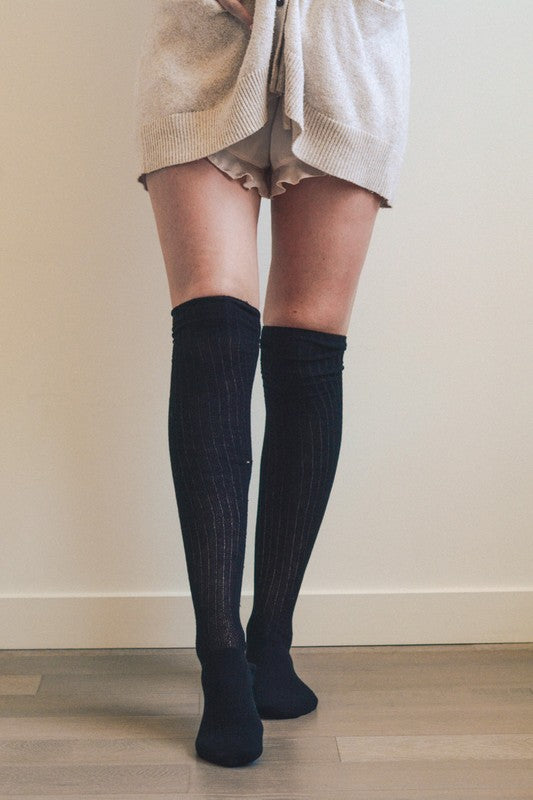 Sadie Classic Ribbed Thigh High Socks