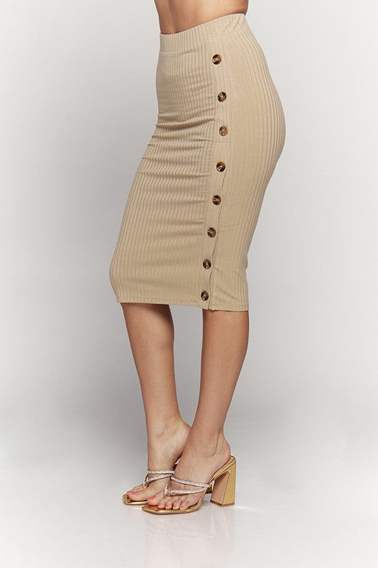 Victoria Side Button Pencil Skirt
