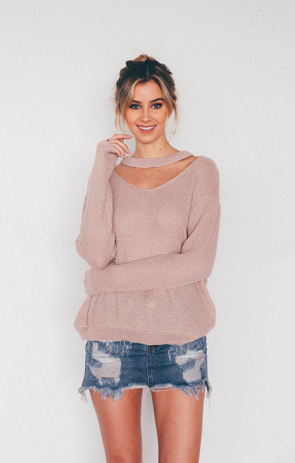 Rachel Choker Knit Sweater, - Wildest Dreams