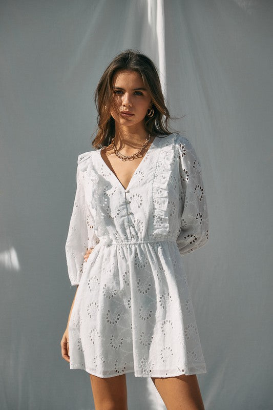 Sarah Eyelet Button Front Dress