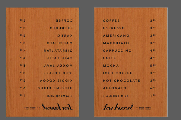 Four Barrel - Etched Signs, May 2017