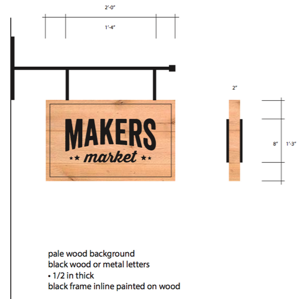 Makers Market - Hanging Signage