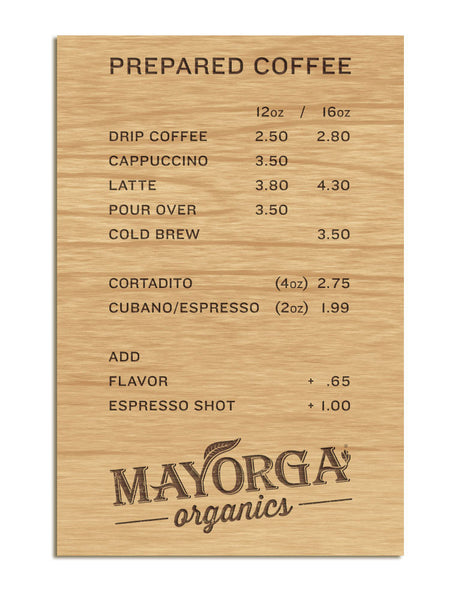 Mayorga Organics Menu