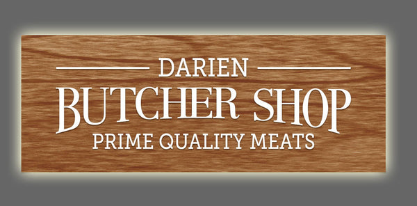 Darien Butcher Shop, backlit