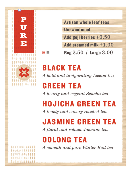 Asha Tea House - 2017 Menu Wall