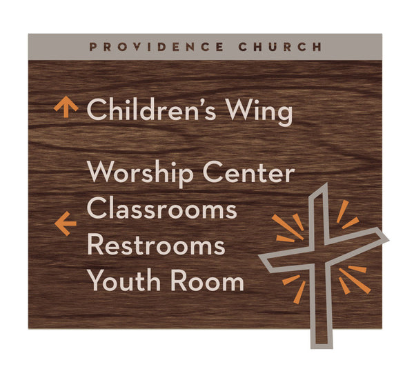 Providence Church - Foyer Signage, all wood