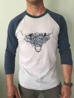 Load image into Gallery viewer, Highland Cow 3/4 Length Tee