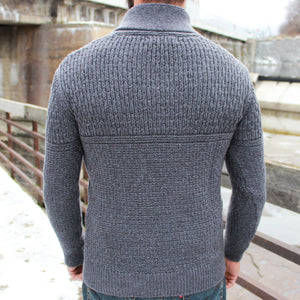 Fanore Textured Shawl Collar Sweater