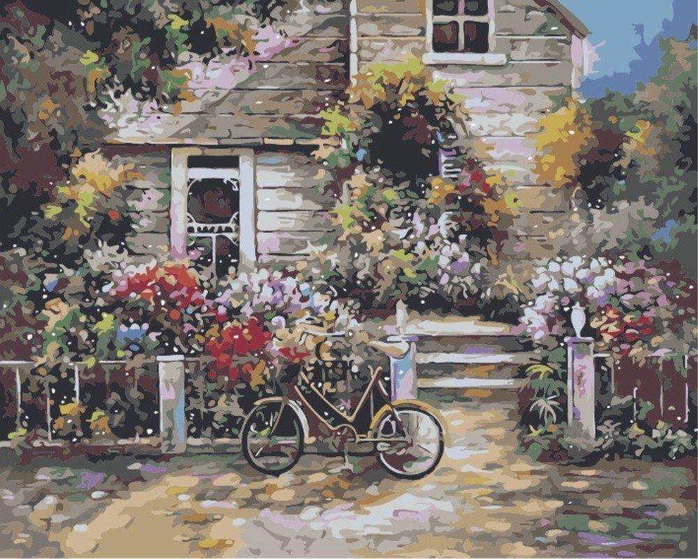 Bicycle in Garden Paint by Numbers
