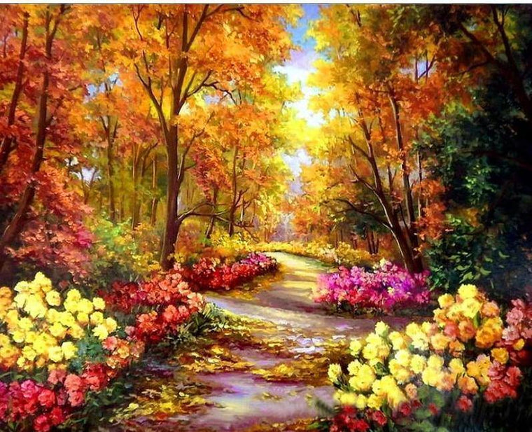 Floral Pathway Paint by Numbers