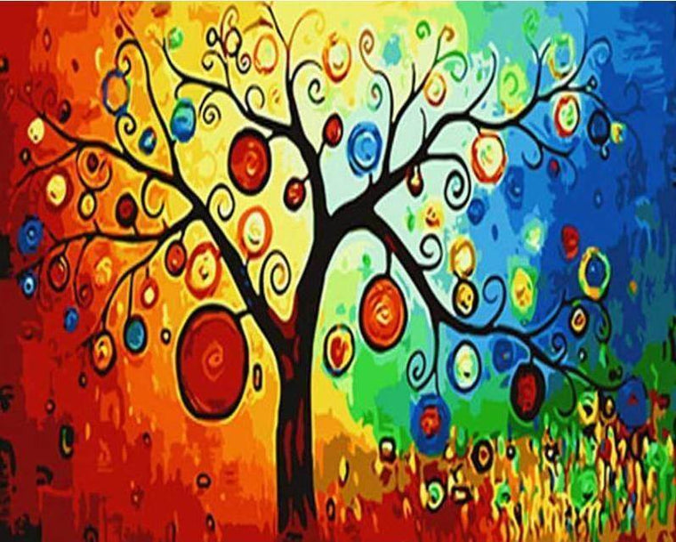 Abstract Tree Paint by Numbers