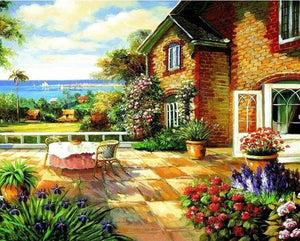 Floral House View Paint by Numbers\