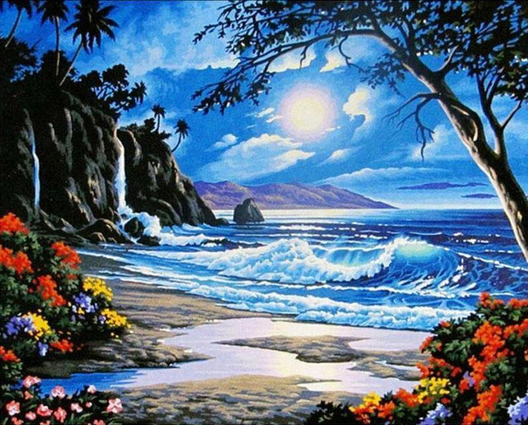 Beach Night View Paint by Numbers