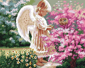 Angel Girl & Flowers Paint by Numbers