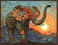 Load image into Gallery viewer, Elephant & Sunset Paint by Numbers