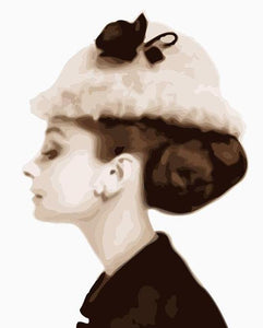 Audrey Hepburn Hat Paint by Numbers
