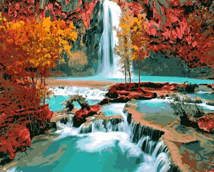 Autumn Trees & Waterfall Paint by Numbers