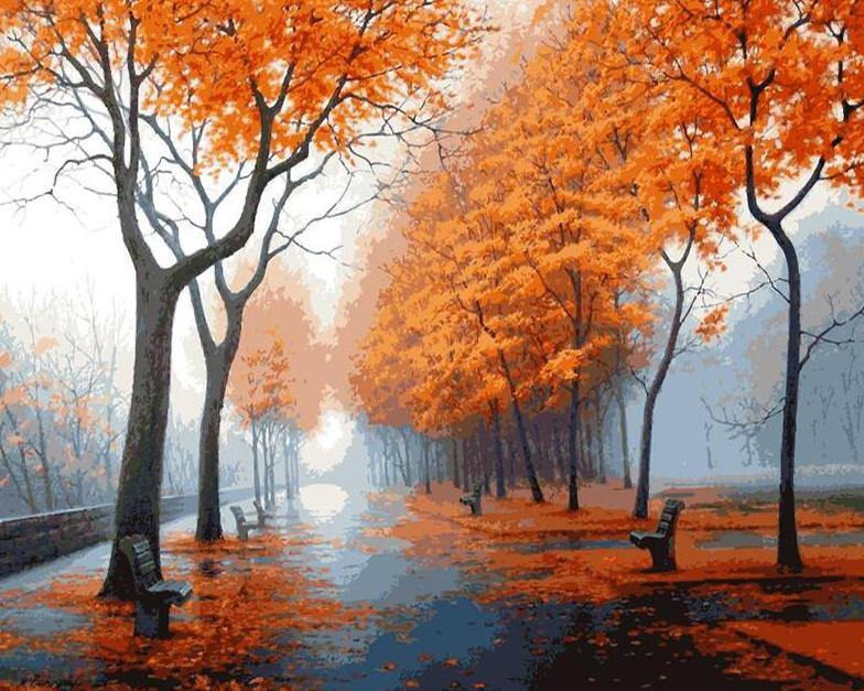 Autumn Trees Painting by Numbers