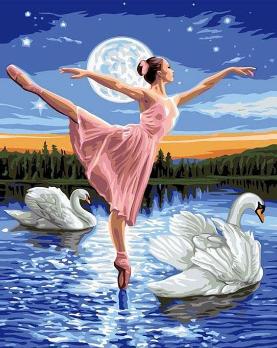 Ballet Dancer & Swans Paint by Numbers