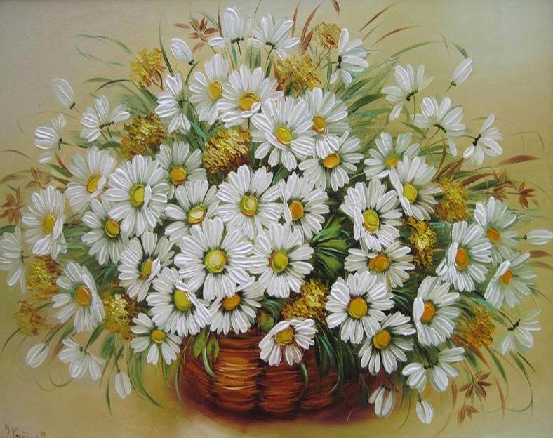 Daisies Painting by Numbers