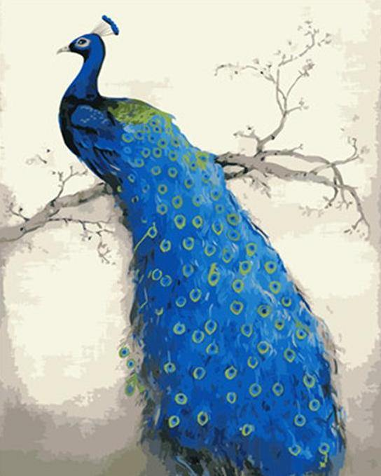 Peacock on Tree Branch Paint by Numbers