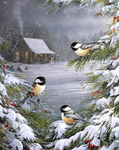 Snowy Trees & Birds Paint by Numbers