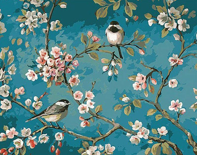 Sparrows & Flowers Paint by Numbers