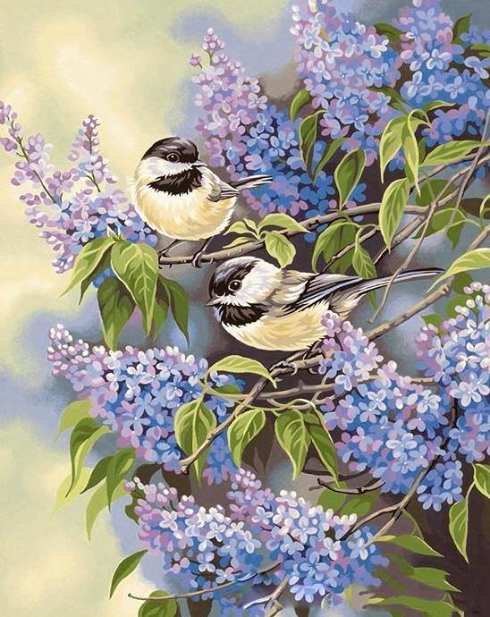 Birds & Lavender Flowers Painting Kit