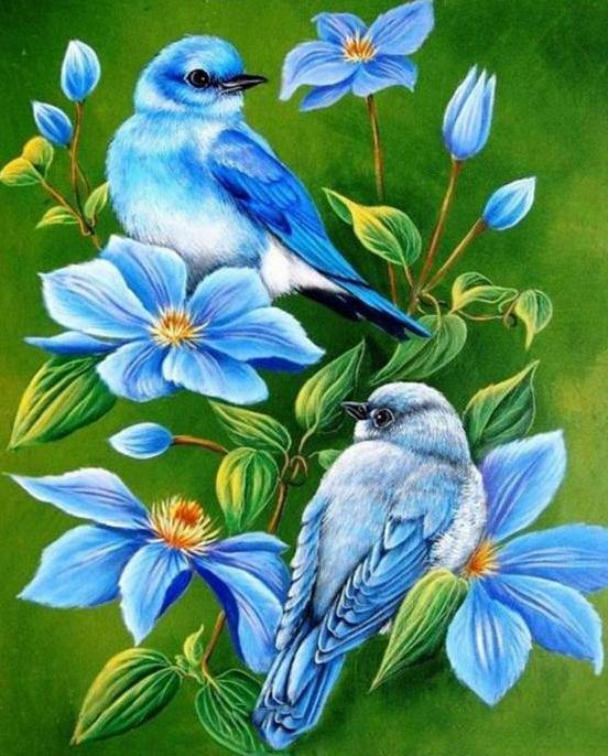 Blue Birds Flowers Paint by Numbers