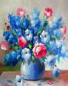 Blue & Pink Flowers Paint by Numbers