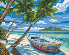 Load image into Gallery viewer, Boat & Palm Trees Paint by Numbers