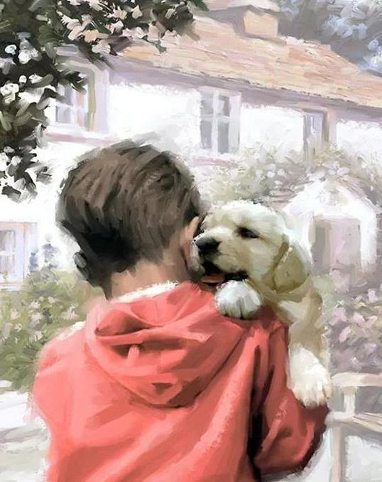 Boy & Puppy Paint by Numbers