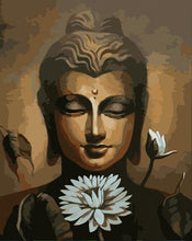 Load image into Gallery viewer, Buddha & White Flower Paint by numbers