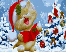 Load image into Gallery viewer, Christmas Tree & Cat Paint by Numbers