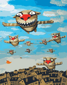 Cartoon Cats Flying Paint by Numbers