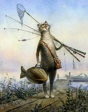 Load image into Gallery viewer, Fishing Cat Paint by Numbers