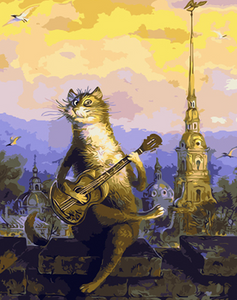 Cat Playing Guitar Paint by Numbers