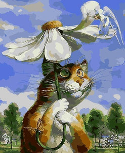 Cat & Daisy Umbrella Paint by Numbers