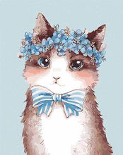 Load image into Gallery viewer, Cat with Bow Tie Paint by Numbers