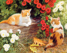 Load image into Gallery viewer, Cats Pair & Flowers Paint by Numbers