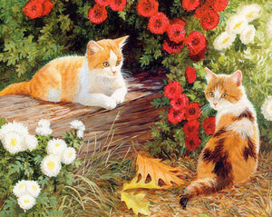 Cats Pair & Flowers Paint by Numbers
