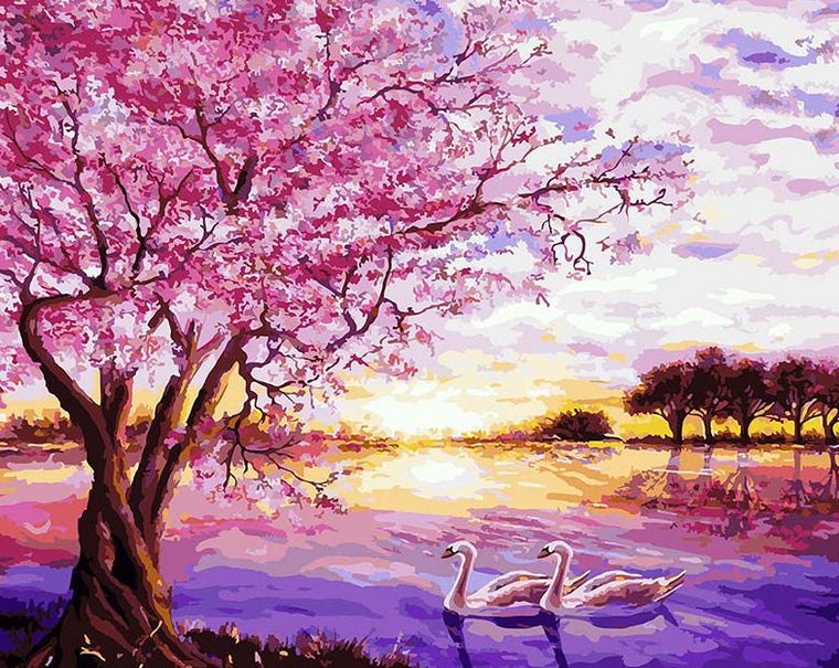 Cherry Tree & Swans Paint by Numbers