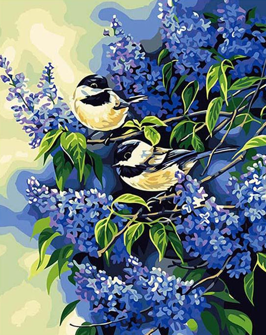 Chickadees Pair Paint by Numbers