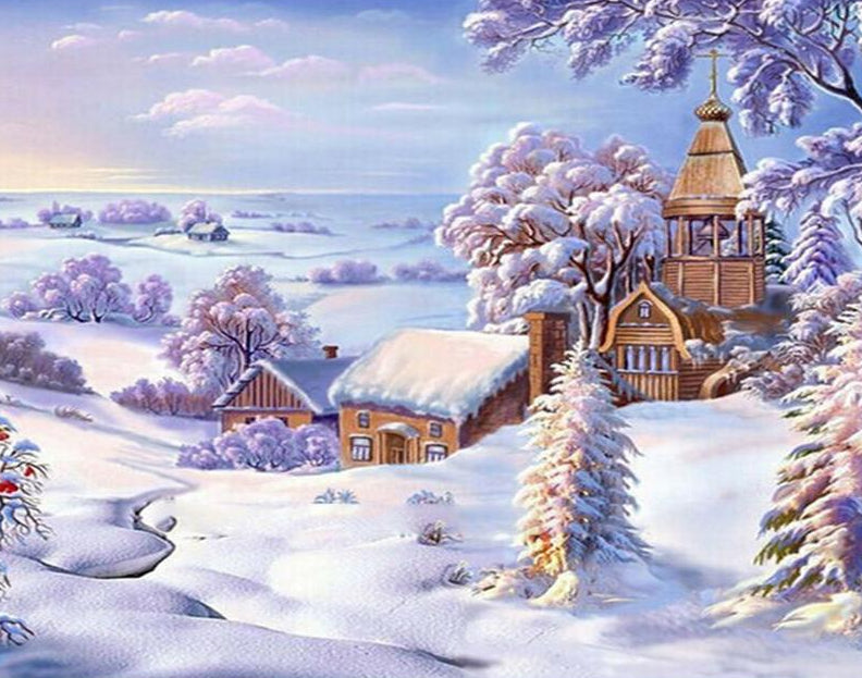 Christmas Snow Landscape Painting Kit Paint By Numbers Home