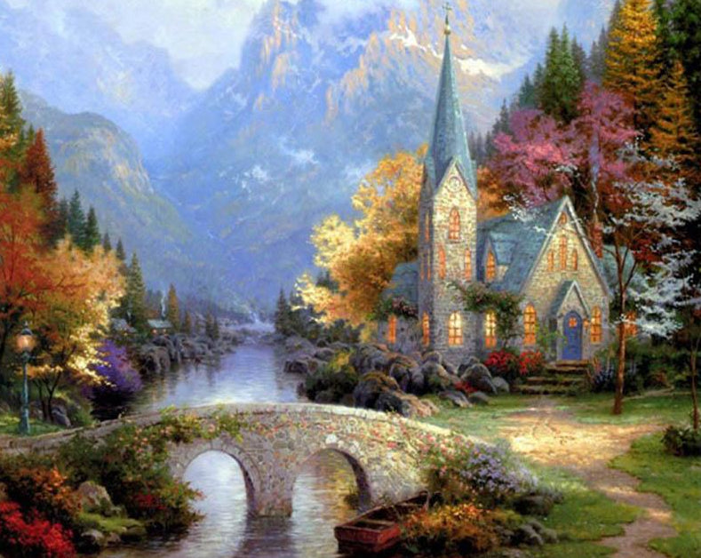 Church in Mountains Paint by Numbers